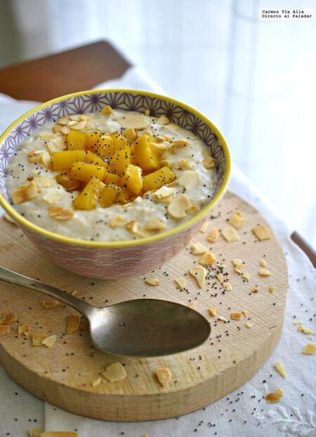 porridge escocés con mango caramelizado