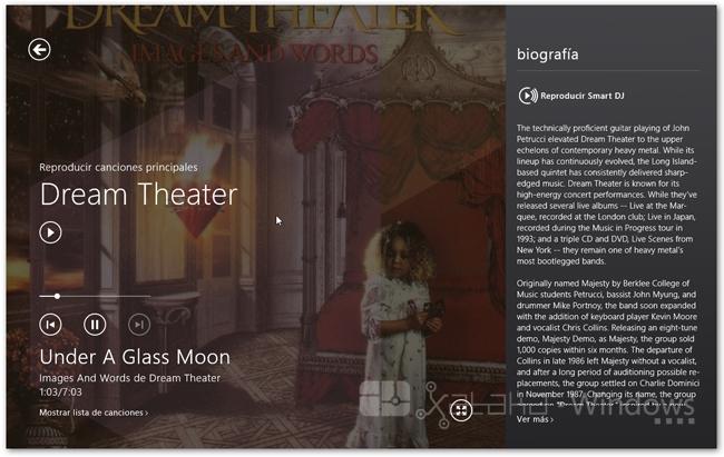XboxMusic reproducción actual