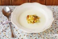 Crema parmentier al ajo con mejillones a la naranja. Receta con Thermomix