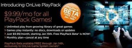 OnLive presenta PlayPack, una tarifa plana de juegos por 9,99 dólares al mes