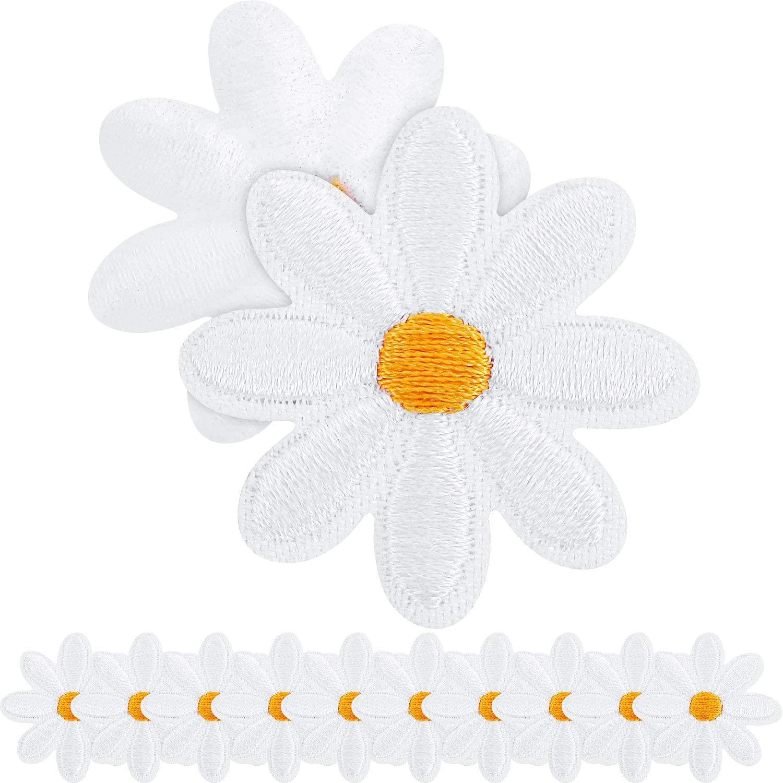 20 Piezas Parche de Flores de Margarita Parches de Ropa de Planchar Parches Apliques de Flores Bordado Decorativo para Decoración de Bricolaje Camiseta Mochila Zapatos Bolsos, 1,38 Pulgadas