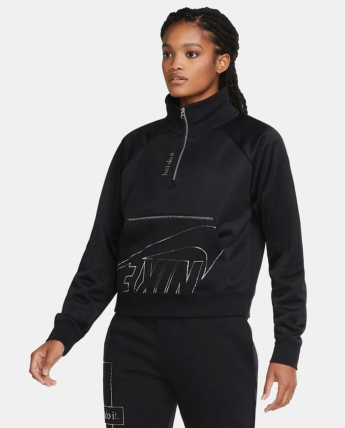 Camiseta de tejido Fleece y cremallera de 1/4 - Mujer Nike Sportswear Icon Clash
