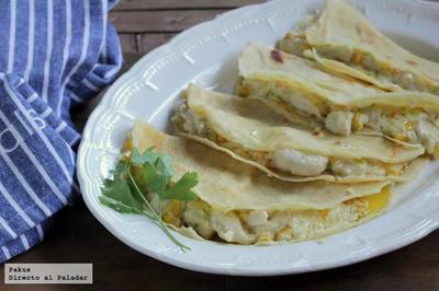 Receta de crêpes de pollo, maíz y puerro