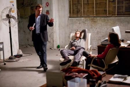 Nolan con Leonardo DiCaprio y Ellen Page durante el rodaje de Origen