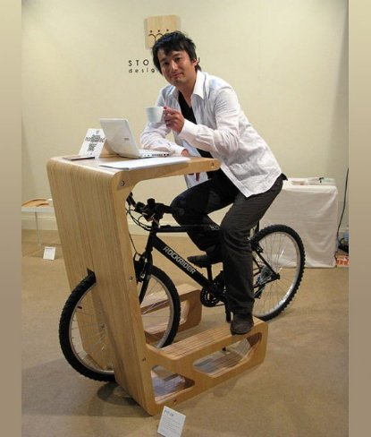 Escritorio con bici