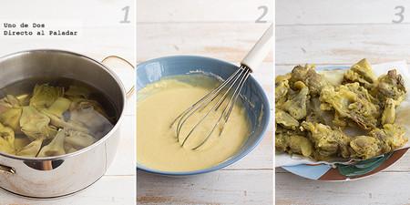 Alcachofas en tempura de azafrán. Receta paso a paso