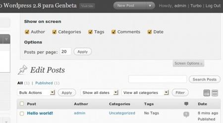Wordpress 2.8 - Opciones de Visualización