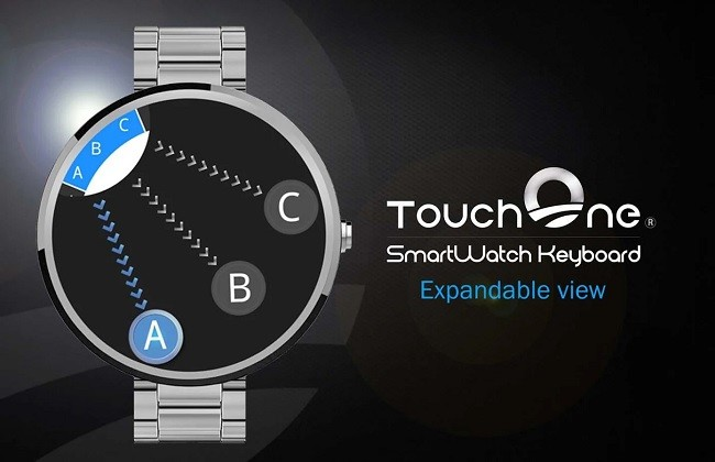 The expected TouchOne keyboard for Android Wear smartwatches, and in