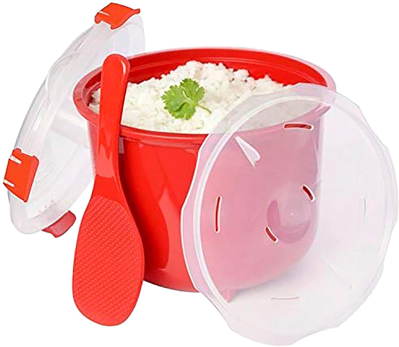 MovilCom - Olla de Vapor para Arroz   Olla para microondas   Vaporera cocción rápida 2,6L Pollo arroz cous cous, Quinoa   Color Rojo