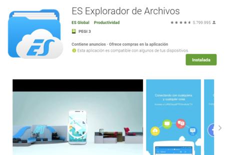ES File Explorer, el popular explorador de archivos para Android, ha sido eliminado de Google Play