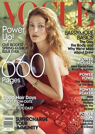 Drew Barrymore portada de Vogue