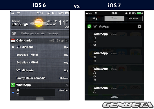 iOs 6 vs iOs 7 - notificaciones