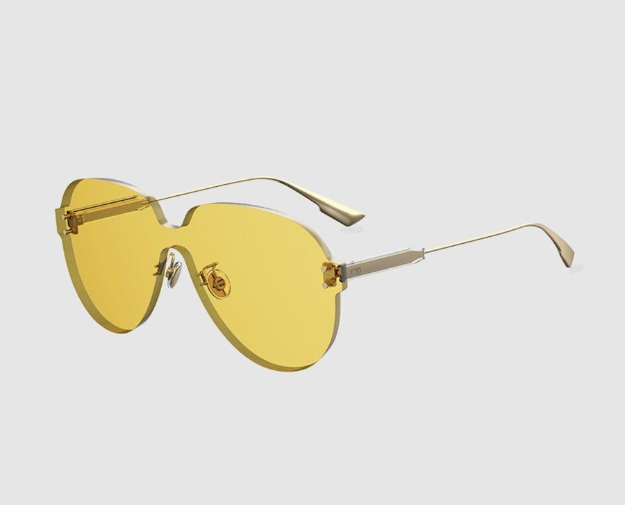 Gafas de sol de mujer Dior de pantalla aviador con lente en amarillo