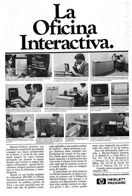 Anuncio oficina interactiva de HP en 1982