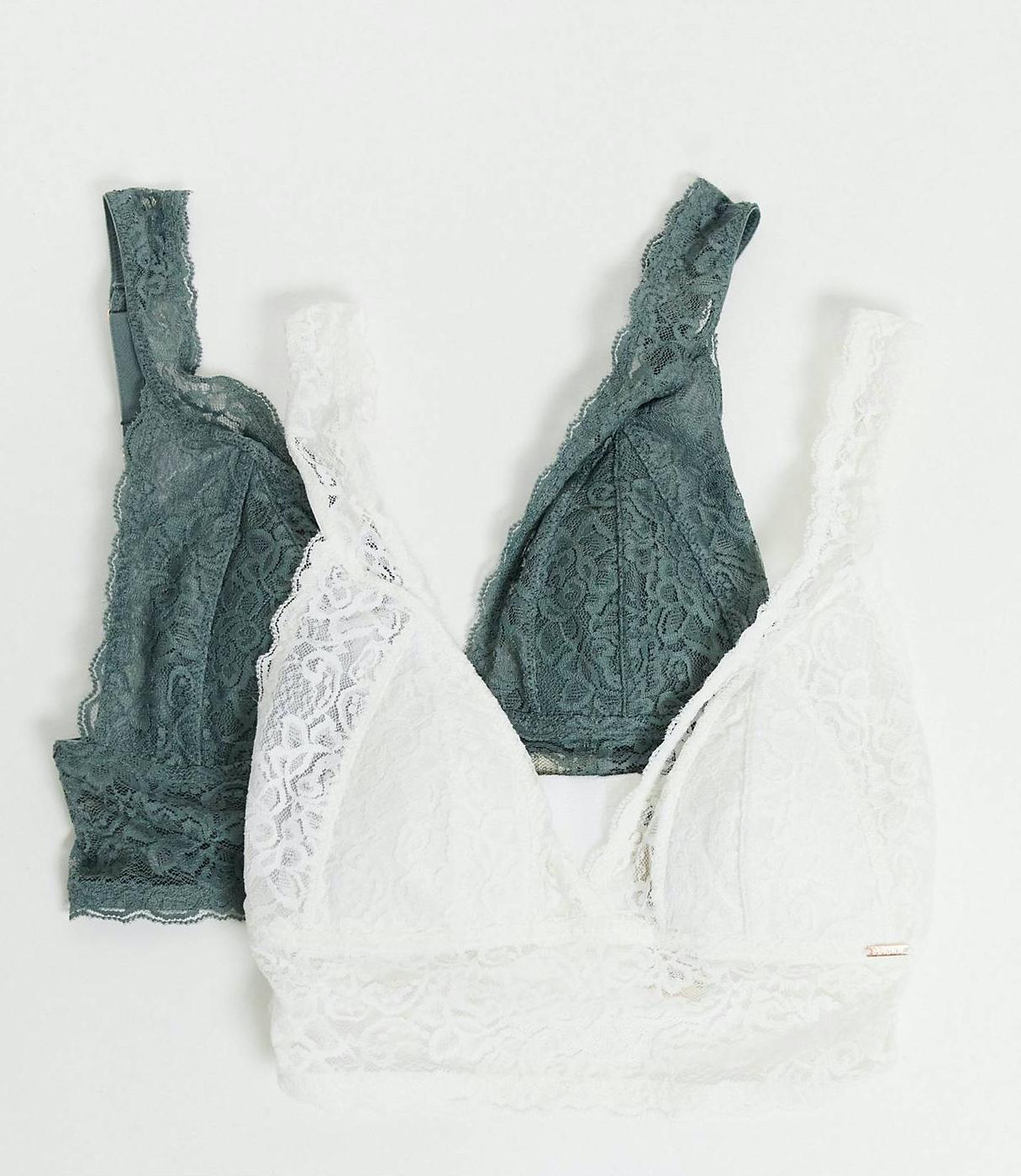 Pack de 2 bralettes de color marfil y salvia oscuro de corte largo con relleno ligero de encaje Lana de Dorina