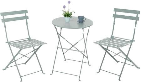Juego de sillas y mesas en blanco