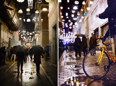 Iluminación callejera con lámparas de casa