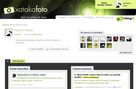 La página de usuario en Xataka Foto, conócela