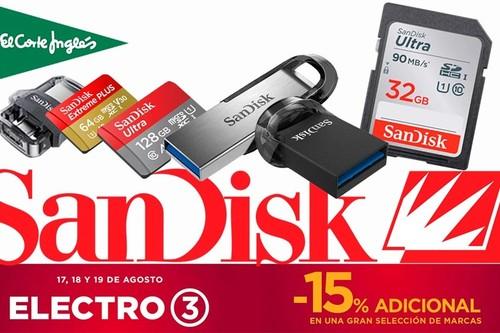 Almacenamiento SanDisk en oferta en Electro 3 de El Corte Inglés: hasta la medianoche, descuento en tarjetas de memoria y pendrives