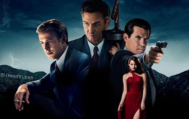 Imagen con el cartel de la película 'Gangster Squad (Brigada de élite)'
