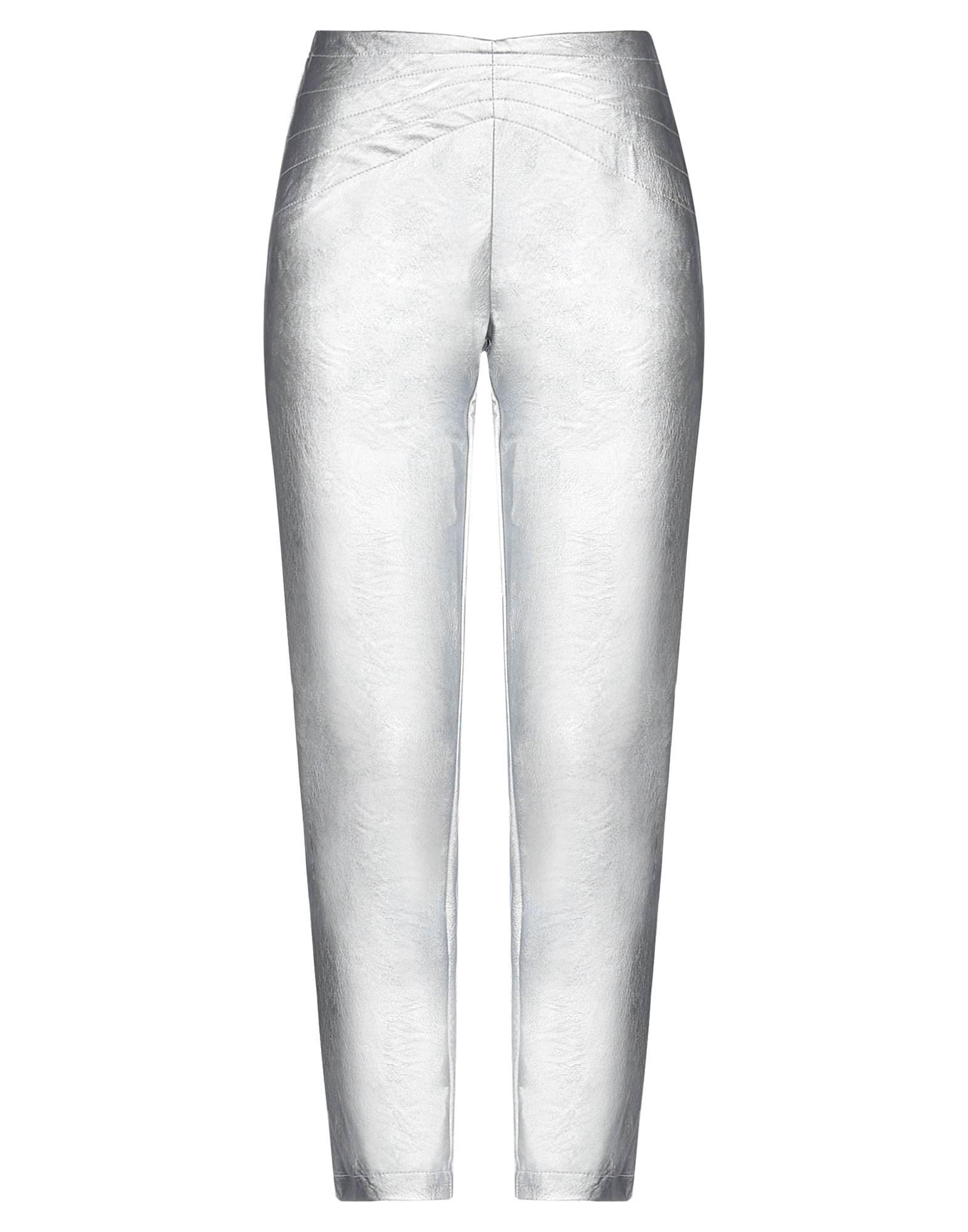 Pantalones de tiro alto con efecto piel metalizada