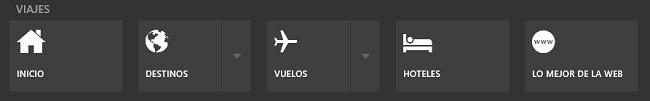 Menú superior de Bing Viajes