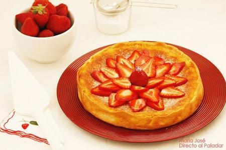 tarta de requeson y fresones