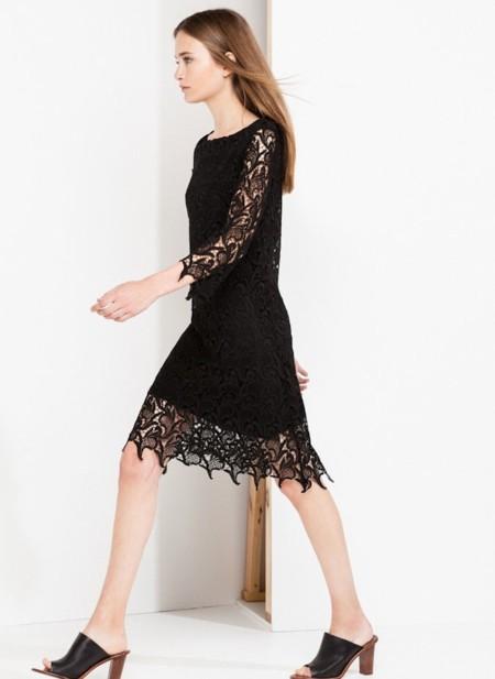 uterqüe vestido guipur