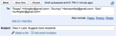 Gmail recomienda destinatarios para nuestros correos