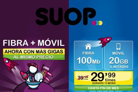 SUOP aumenta los gigas de sus combinados de fibra y móvil, y repite promoción con 25% de descuento el primer año
