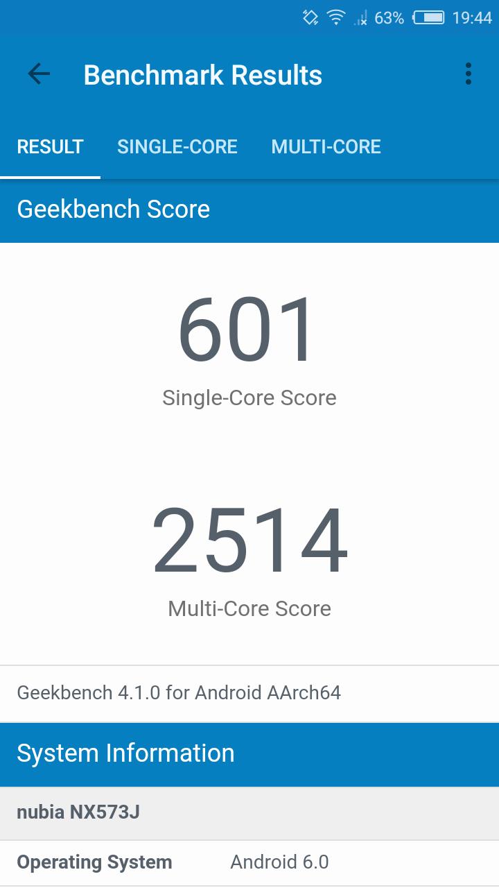 benchmarks nubia m2 lite