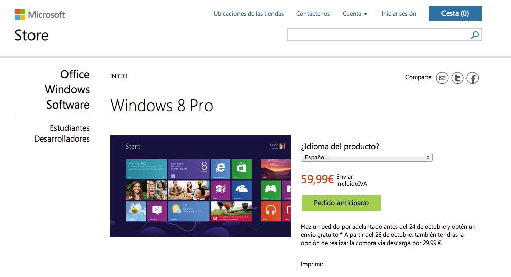 precio windows 8
