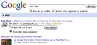 Cartelera integrada en los resultados de Google