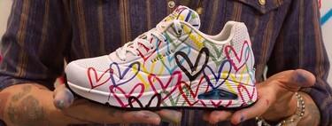 James Goldcrown, el artista detrás de las paredes de corazones más fotografiadas en Instagram, ahora utiliza zapatillas como lienzo