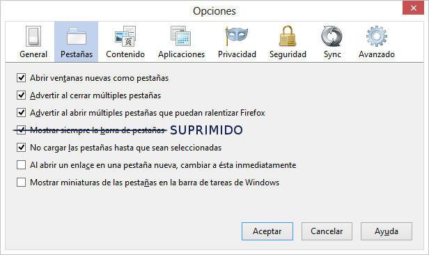Firefox 23, supresión de elementos en Pestañas