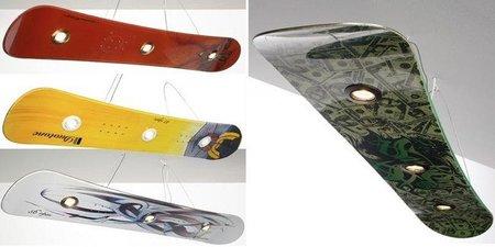 Lámparas con tablas de snowboard