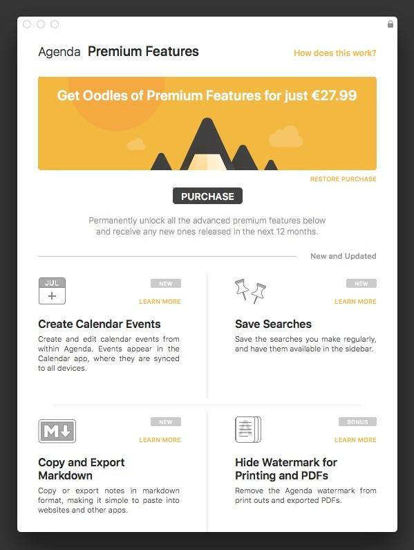 Agenda Funciones Premium Mac