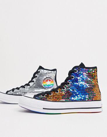Zapatillas de deporte abotinadas con lentejuelas en 2 direcciones  Chuck 70  Rainbow Pride de Converse