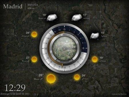 Pantalla con la previsión meteorológica diaria de Aelios Weather