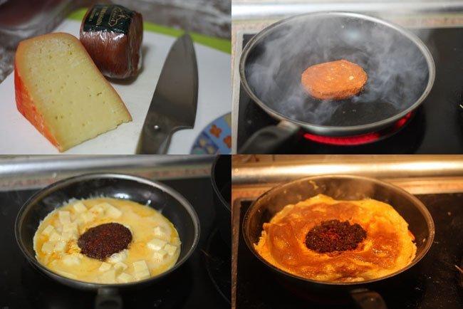Tortilla de sobrasada y queso de Mahón. Pasos