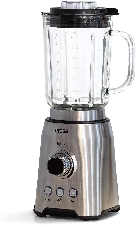 Ufesa BS4799 Delux Batidora de Vaso, 1200 W,Jarra de Cristal de 1.75L,Bloqueo de Tapa,Regulador de Velocidad Variable,3 Funciones,Turbo, Hielo y Smoothies,6 Cuchillas de Acero Inoxidable,Libre de BPA