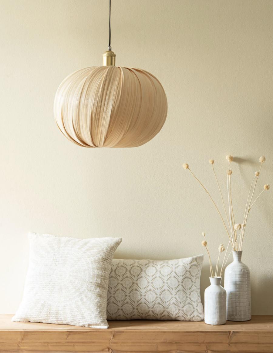 Pantalla para lámpara de techo de bambú color crudo