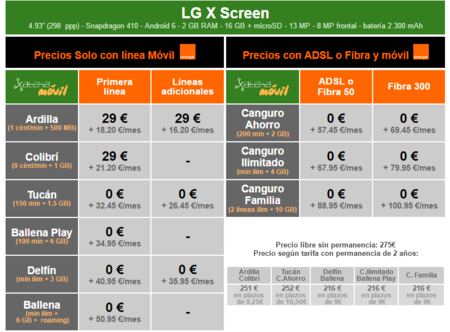 Precios Lg X Screen Con Tarifas Orange