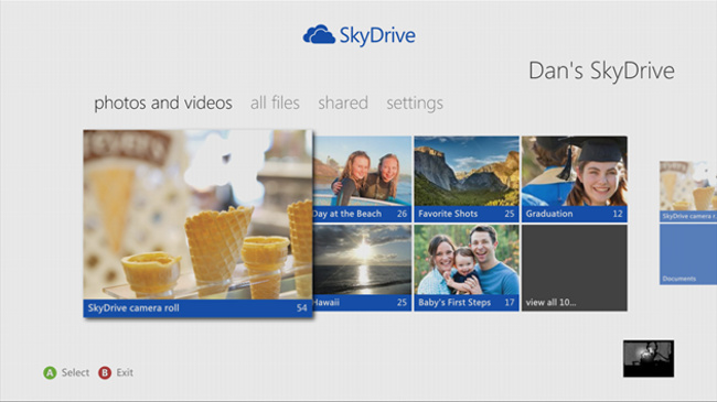 SkyDrive en Xbox 360
