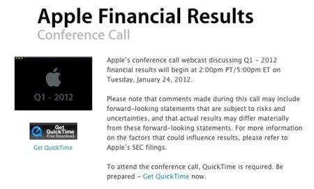 Apple anunciará sus resultados financieros del primer trimestre fiscal del 2012 el 24 de enero