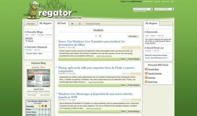 Regator, directorio de blogs y agregador de canales rss en una misma aplicación