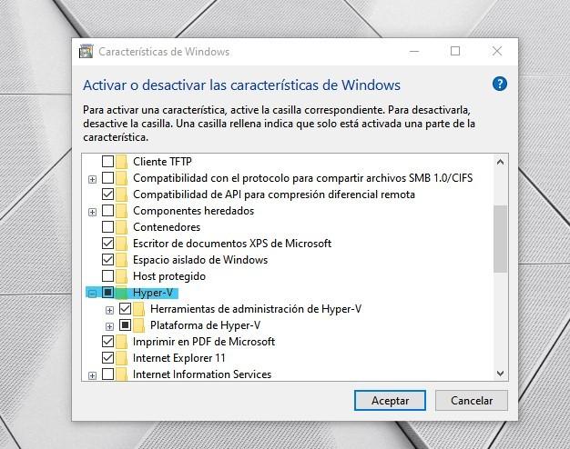 Activación de Hyper-V en Windows 10