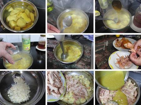 Pollo con mango y plátano