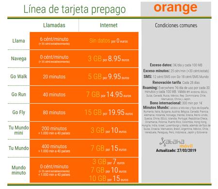 Nuevas Tarifas Tarjeta Prepago Orange Abril 2019