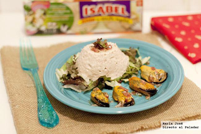ensalada de mejillones con mousse de atún Isabel en aceite vegetal